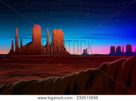 Mountain And Monument Valley, Night Panoramic View, Peaks, Landscape Early In Daylight. Travel Or Ca
