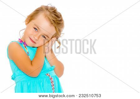 Beautiful Little Girl Close-up. The Concept Of Beauty And Fashion, Happy Childhood. Isolated On Whit