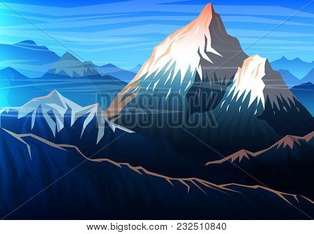 Mountain Everest, Evening Panoramic View Of Peaks, Landscape Early In A Daylight. Travel Or Camping,