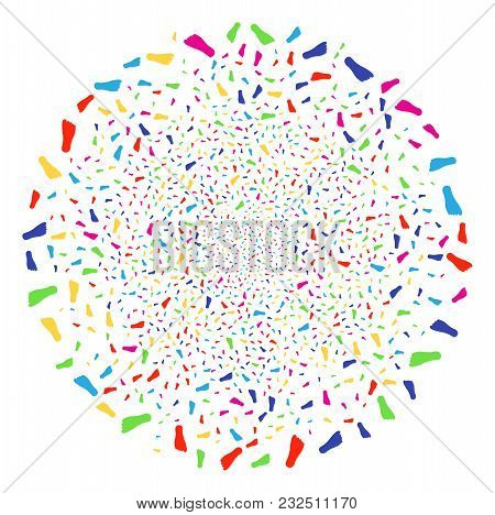 Multicolored Human Footprint Carnival Globula. Vector Round Cluster Salute Combined From Randomized