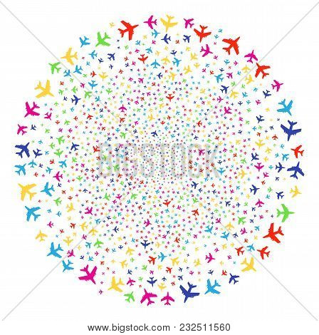 Colorful Jet Plane Explosion Cluster. Vector Sphere Burst Combined By Scattered Jet Plane Items. Mul