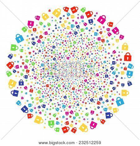 Psychedelic Lock Sparkler Spheric Cluster. Vector Sphere Explosion Combined From Random Lock Element