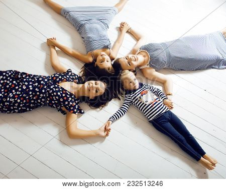 Mature Sisters Twins At Home With Little Daughter, Happy Family Smiling Close Up, Lifestyle Modern R
