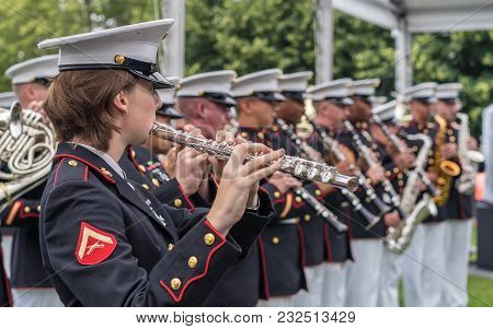 New York, Ny Usa - June 16, 2017. The Usmc Band Of New Orleans Performed At The Freedom Park In Roos