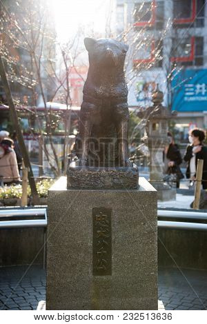 Shibuya, Tokyo, Japan - March 17, 2018: Hachiko Memorial Statue In Shibuya, Tokyo. It Is Bronze Stat