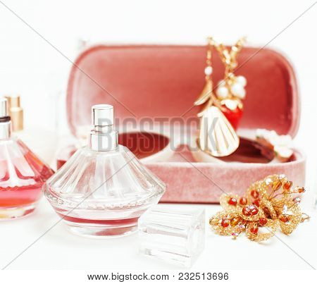 Jewelry Table With Lot Of Girl Stuff On It, Little Mess In Cosmetic Brushes, Women Interior Concept,