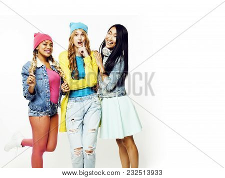 Diverse Nation Girls Group, Teenage Friends Company Cheerful Having Fun, Happy Smiling, Cute Posing