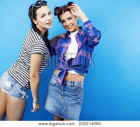 Best Friends Teenage School Girls Together Having Fun, Posing Emotional On Blue Background, Besties
