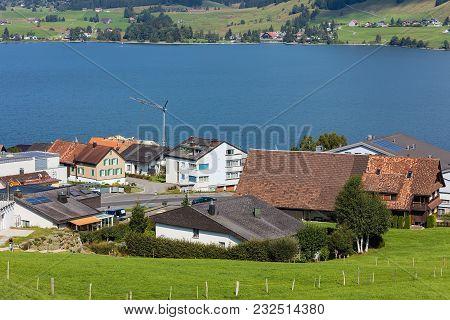 Einsiedeln, Switzerland - 8 September, 2015: View In The Town Of Einsiedeln. Einsiedeln Is A Municip