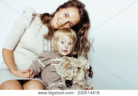 Young Modern Smiling Blond Mother With Little Cute Daughter On White Background, Happy Girls Family