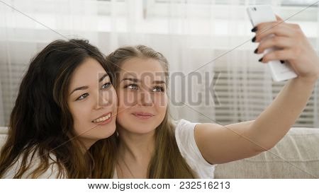Selfie Modern Youth Lifestyle. Online Posting Social Network Concept. Friends Leisure. Young Teen Gi