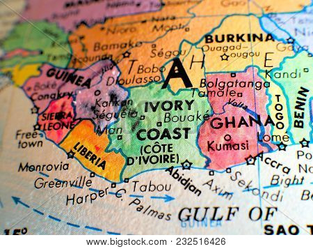 Ivory Coast Africa Isolated Focus Macro Shot On Globe Map For Travel Blogs, Social Media, Website Ba
