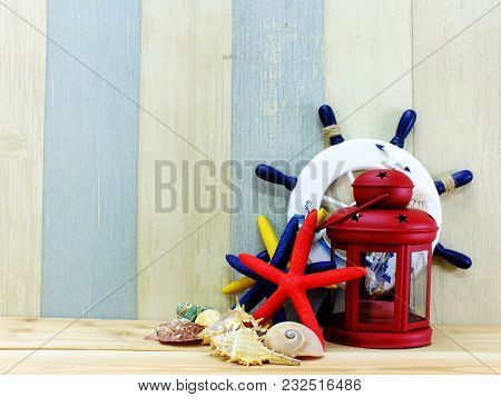 Nautical Concept With Marine Life Style Objects With Space Background