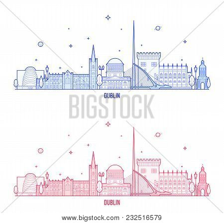 Dublin Skyline, Ireland. This Vector Illustration Represents The City With Its Most Notable Building