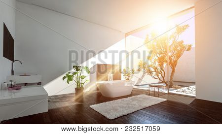 Warm bright sunbeam in a modern luxury bathroom with glass wall onto a patio with tree and contemporary bathtub and vanities. 3d rendering