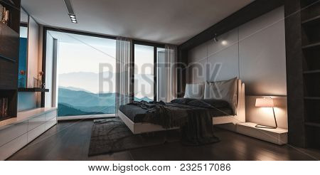 Modern stylish luxury bedroom with view window overlooking mountain peaks and a divan style bed with padded headboard in tones of brown and beige. 3d rendering