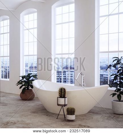 Contemporary oval ceramic bathtub and houseplants in a spacious airy loft conversion bathroom with tall windows overlooking a cityscape. 3d rendering
