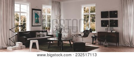 Panorama corner view of a modern white luxury living room interior with large windows, dark furniture and wooden floor decorated with arrangements of dried twigs and artwork on the walls. 3d rendering