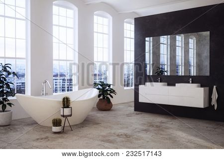 Spacious stylish sunny modern bathroom with large windows overlooking a town, boat-shaped bathtub and twin vanities on a black divider wall. 3d rendering