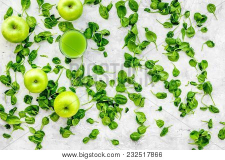 Greeny Vegetable Smoothie In Glass On With Apple, Celeriac Stone Table Background Top View Mock Up