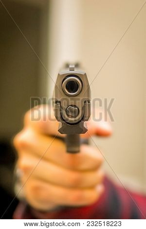 Hand Gun Pointing Indoor Home Violence