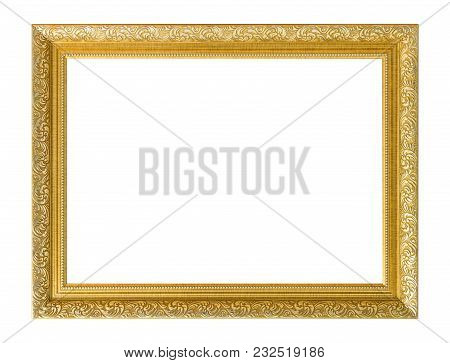 Gold Frame. Gold/gilded Arts And Crafts Pattern Picture Frame. Isolated On White. Gold Frame Photo I