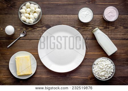 Dairy Products From Farm. Milk, Cottage, Cheese, Yougurt On Wooden Table Top View Mockup