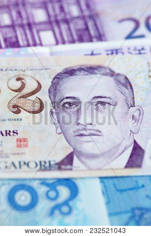 Singapore 2 dollars note closeup