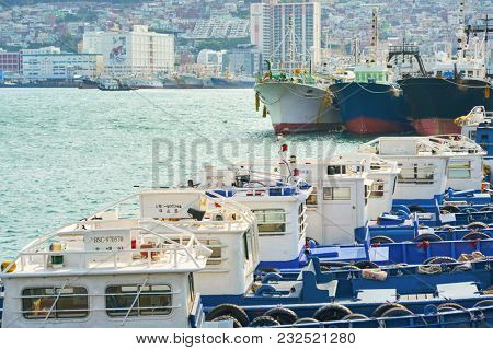 BUSAN, SOUTH KOREA - CIRCA MAY, 2017: Busan urban landscape. Busan, formerly known as Pusan, is South Korea's second most-populous city after Seoul.