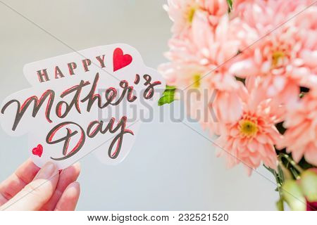 Happy Mother's Day Card. Greeting Card With Spring Bouquet.pink Chrysanthemum Flowers.happy Mother's