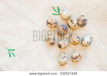 Happy Easter Card.still Life With Quail Eggs On Beige Linen Tablecloths .spring Holiday.