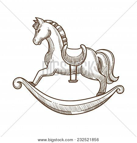 Wooden Horse In Saddle Swing For Little Children. Toy In Shape Of Ungulate To Ride For Kids. Mammal