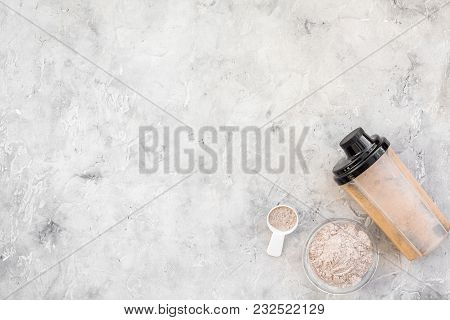 Nutrition For Workout With Protein Cocktail, Powder On Stone Table Background Top View Mockup