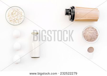 Sport Diet Protein Nutrition With Eggs And Milk And Fitness Equipment On White Background Top View M