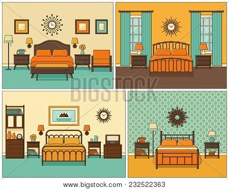 Bedroom Interior. Hotel Room With Bed. Vector. Linear Illustration. Retro House Furniture In Line Ar