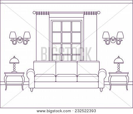 Room Interior. Vector Living Room. Home Flat Design With Furniture, Window. Outline Sketch House Sce