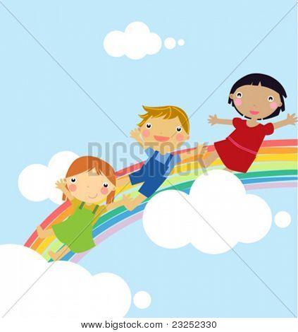 cute children and rainbow