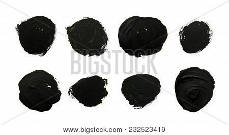 Set Of Black Circles. Abstract Gouache Brush Strokes On A White Background