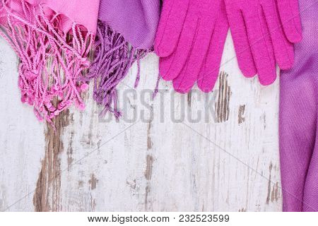 Frame Of Woolen Gloves And Shawl With Copy Space For Text, Womanly Accessories, Warm Clothing For Au