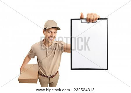 Delivery guy showing a blank clipboard isolated on white background