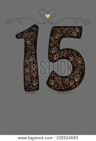 Brown Floral Number Fifteen. Yellow Flowers And Plants With Drawing Effect And Small Blue Hearts. Gr