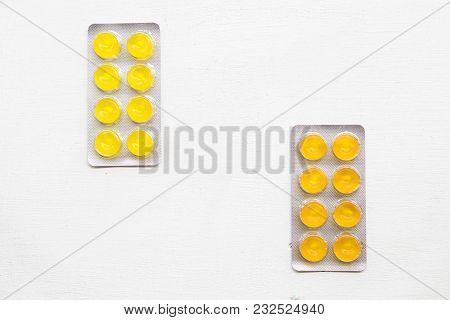 Cough Sore Throat Pastille On Background White