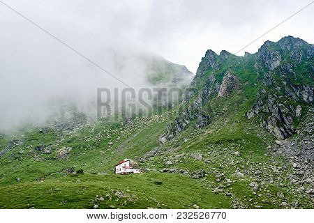 Adorable Little White House On The Hill In The Mountains Valley Of Romania Copyspace Weather Cozines
