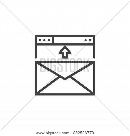 Envelope In Browser Window Outline Icon. Linear Style Sign For Mobile Concept And Web Design. Email