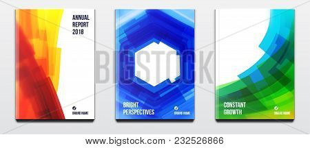 Corporate Booklet Covers Or Annual Reports And Presentation Books With Blurred Futuristic Design And