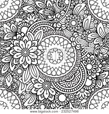 Hand Drawn Seamless Pattern With Leaves And Flowers. Doodles Floral Ornament. Black And White Decora