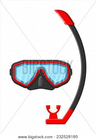 Diving Mask With Snorkel. Diving Equipment. Scuba, Snorkeling. Goggles And Pipe. Vector Illustration