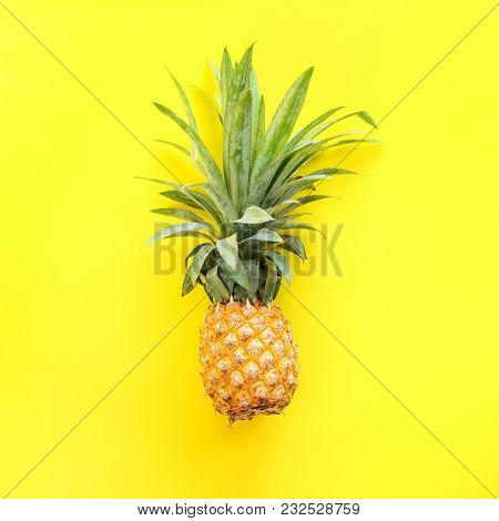 Pine Apple Tropical Fruit Yellow Background Useful Natural Organic Food Style Minimalism Top View On