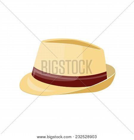 Men Straw Hat. Straw Sunhat Isolated On White. Summer Bonnet. Vector Illistration In Flat Style
