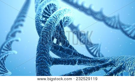DNA Spiral Blue Science Background. Scientific 3D Illustration.